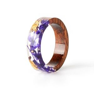 Women Wood Resin Ring Transparent Epoxy Resin Ring